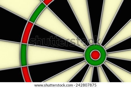 Close up 3d render of darts board - stock photo