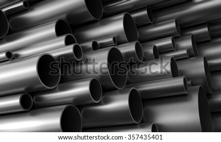 Close up 3d render of steel pipes - stock photo