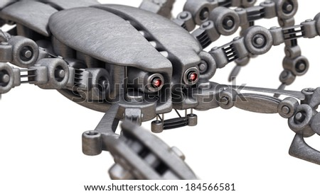 close-up. 3d robot Scorpion isolated on white background High resolution
