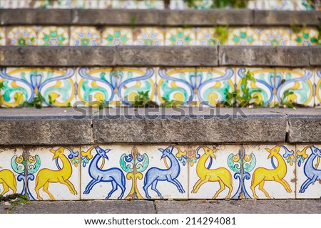 close-up decoration of famous staircase with ceramic tiles named Santa Maria del Monte at Caltagirone, Sicily - stock photo
