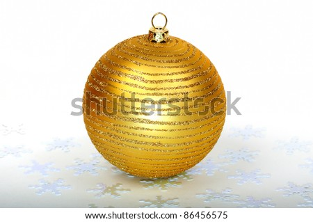 Close up decorative Christmas ball on the table. - stock photo