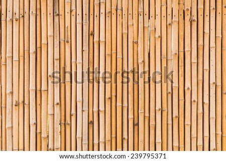 close up decorative old bamboo wood of fence wall background - stock photo