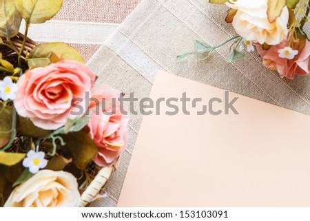 close up decorative rose and space for text - stock photo