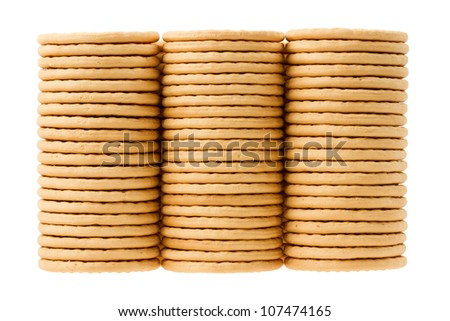 Close up delicious dutch biscuits - isolated on white background
