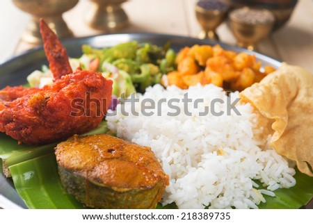 Close up delicious Indian mixed rice on dining table. - stock photo