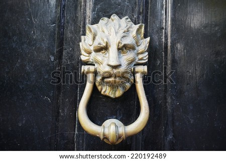 Close-up Detail Beautiful Old Fashioned Brass Door Knocker - stock photo