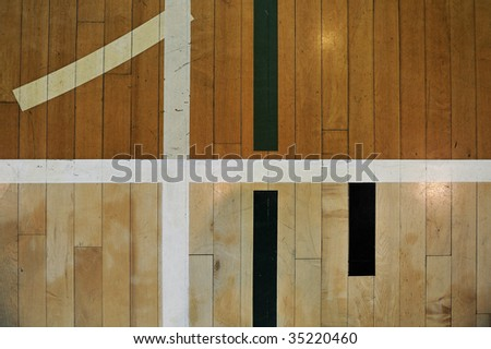 Close up detail of a hardwood basketball court for background - stock photo
