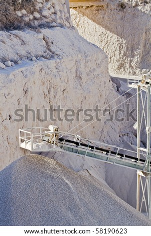 Close up, detail of  a sand and stone quarry - stock photo