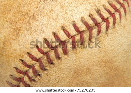 Close Up Detail of a Vintage Baseball's Seams - stock photo