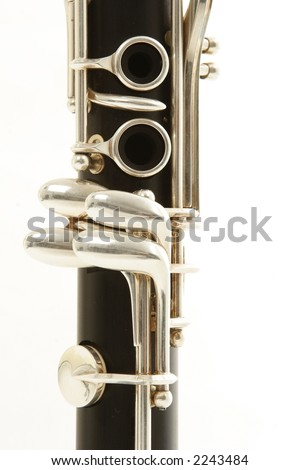 close up detail of a woodwind clarinet