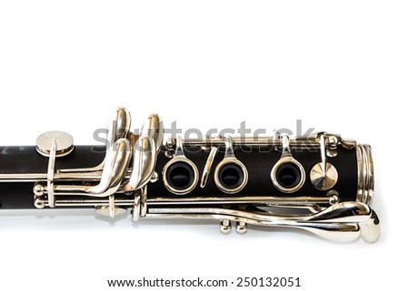 close up detail of clarinet on white background - stock photo