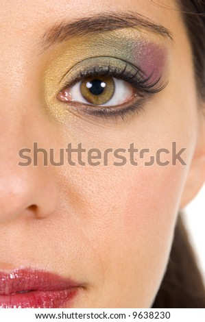 Close up detail of eye makeup blending done by a professional makeup artist