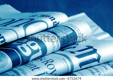 close-up detail of international newspapers - stock photo