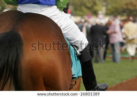 Close up detail of jockey on race horse with nicely blurred crowd of fans in background - stock photo