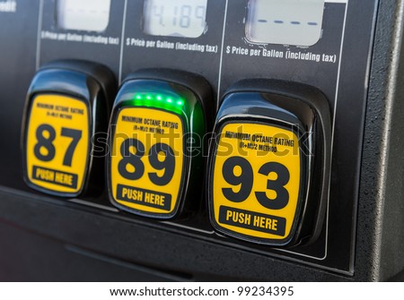 Close up detail of octane rating selector in gas pump - stock photo