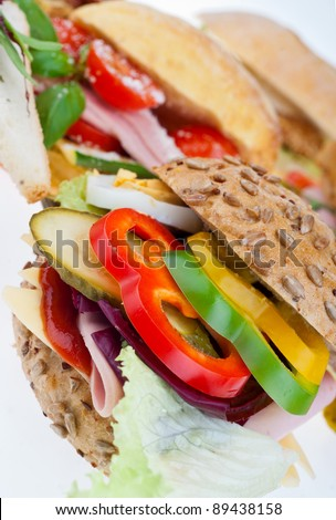 close up detail of sandwich - stock photo