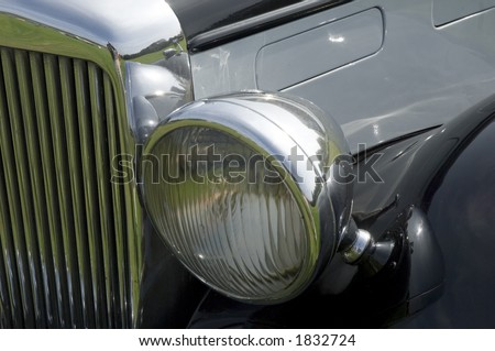 Close up detail of vintage Alvis car - stock photo