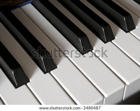 Close-up detail on piano keys