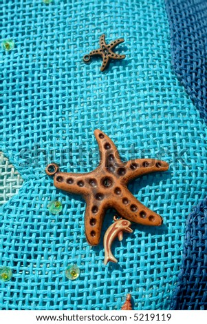 Close-up detail, wooden sea star - stock photo