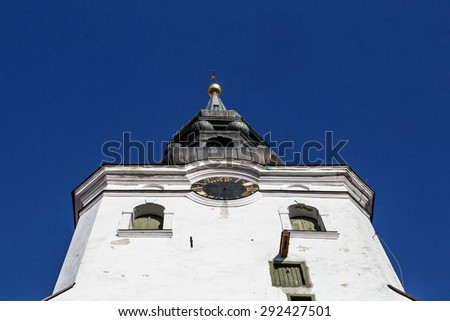 Close up detailed bottom view of the cathedral church of St Mary's located in Toompea Hill, in Tallinn, Estonia, on blue sky background. - stock photo