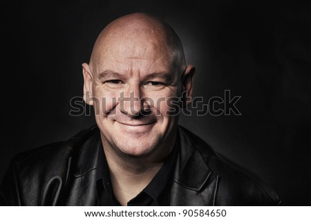 Close up detailed image of bald shaved head man. - stock photo