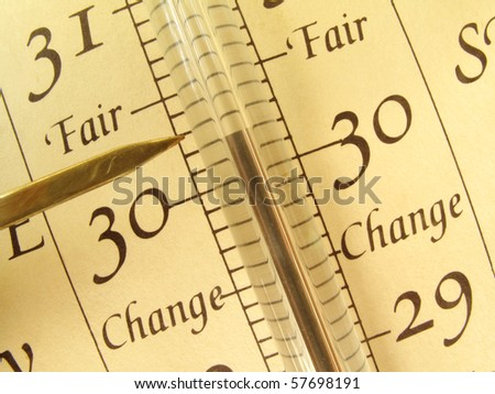 Close up, detailed view of an antique barometer - stock photo
