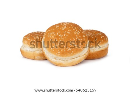 Close up detailed view of crumpet hamburger bread with sesame, isolated on white background.