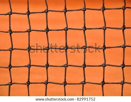 Close up details of a tennis net - stock photo