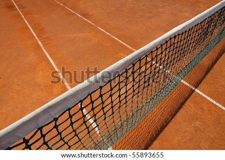 Close up details of a tennis net with selective focus. - stock photo