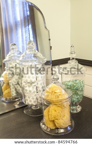 Close up details of bathroom jars - stock photo