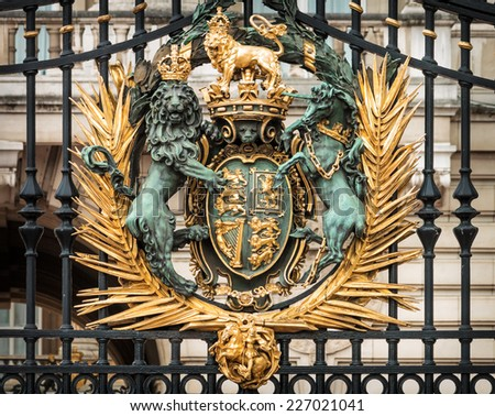 Close-up details of the gate of Buckingham Palace in London, England, UK - stock photo