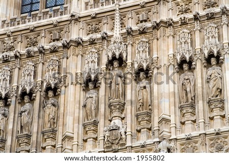 Close up details of the Houses of Parliament