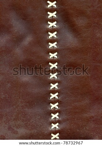 Close-up details of the lacing on brown leather to background