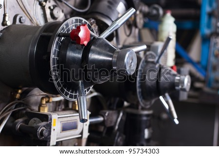close-up details of typography machine - stock photo