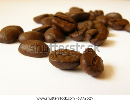 close up details of whole coffee beans