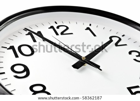 Close-up dial of hours, five minutes to two o'clock - stock photo