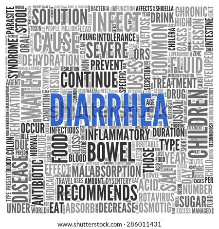 Close up DIARRHEA Text at the Center of Word Tag Cloud on White Background.