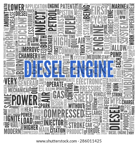 Close up DIESEL ENGINE Text at the Center of Word Tag Cloud on White Background.