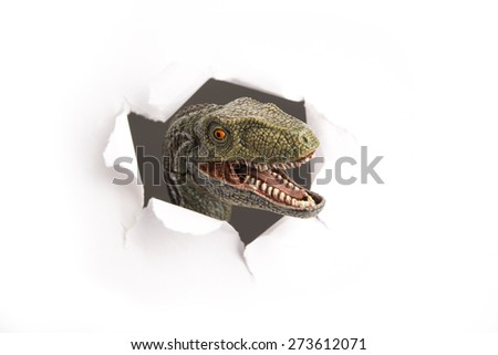 close up dinosaur through the paper wall - stock photo