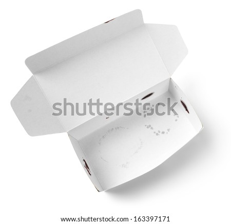 Close up dirty empty used paper cardboard snack box isolated on white  - stock photo