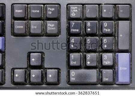 Close up dirty keyboard, unhygienic equipment in home or office - stock photo