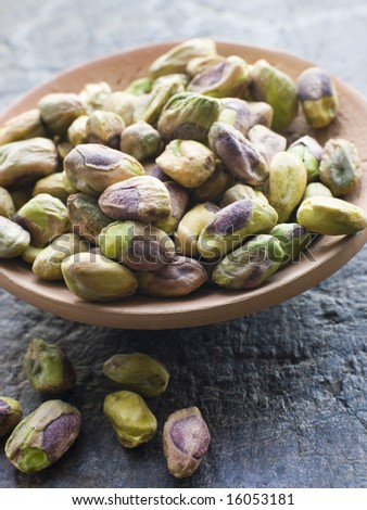 Close up Dish of Pistachio Nuts