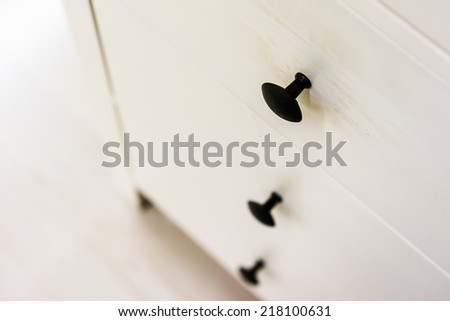 Close up drawer and knob. Selective focus. - stock photo