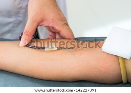 Close up Drawing of Blood donation - stock photo