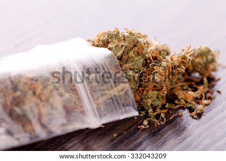 Close up Dried Cannabis or Marijuana Leaves Used for Psychoactive Drug or Medicine on Top of the Table - stock photo