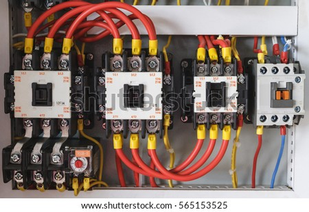 stock photo close up electrical wiring with fuses and contactors 565153525 closeup electrical wiring fuses contactors control stock photo electrical contactors wiring at readyjetset.co