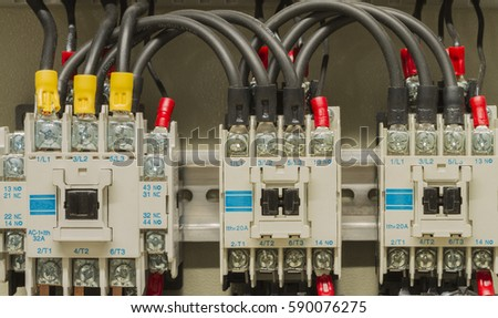 stock photo close up electrical wiring with fuses and contactors control box of machine 590076275 closeup electrical wiring fuses contactors control stock photo electrical contactors wiring at readyjetset.co