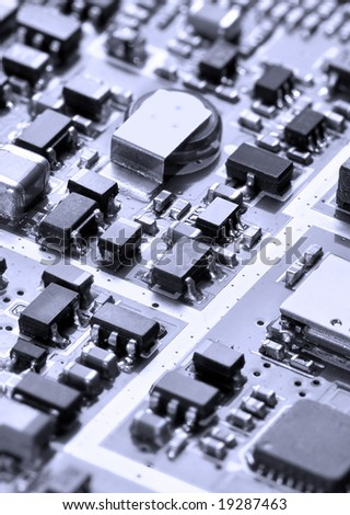 Close-up electronic chip with low depth of field - stock photo