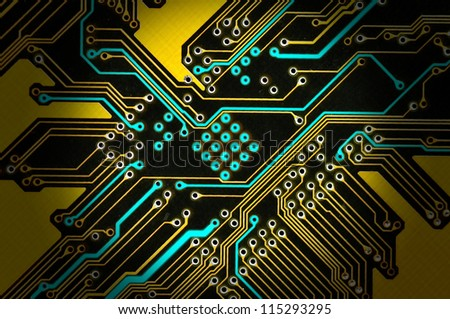 close-up electronic circuit board. - stock photo