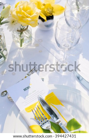 Close up elegance table set up white, green and yellow flowers theme, selective focus. (set)